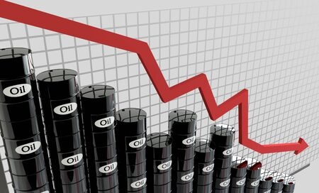 oil industry: oil barrels and a financial chart on white background.  price oil down.  business concept.