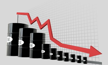 economical: oil barrels and a financial chart on white background.  price oil down.  business concept.
