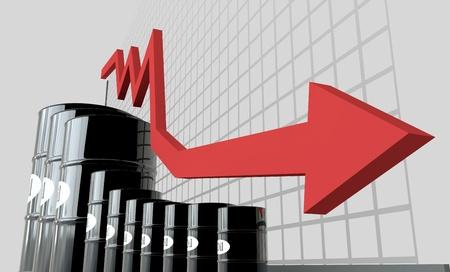barils de pétrole et un tableau financier sur fond blanc. huile de prix vers le bas. Concept d'affaire.