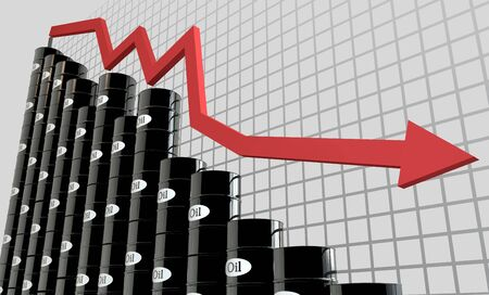 crude oil: oil barrels and a financial chart on white background.  price oil down.  business concept.