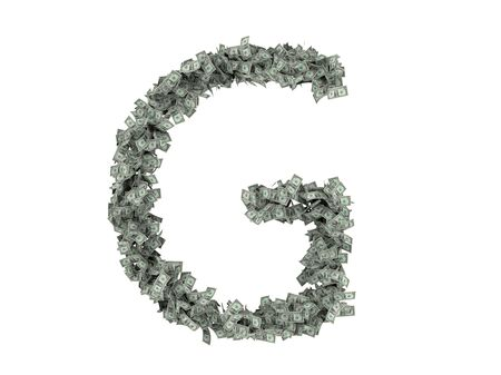 millionaire: Letter from dollars. Alphabet from dollars isolate on white background. Stock Photo