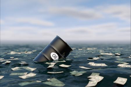 comercio: Barril de petróleo en el agua. aceite de precio hacia abajo. concepto de la crisis Foto de archivo
