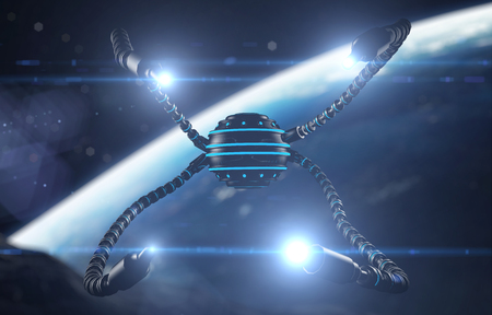 worm gear: Futuristic robot dron with tentacles. Future concept Stock Photo