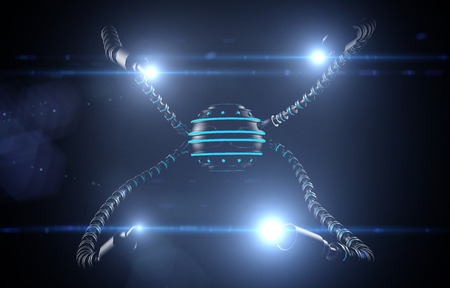 worm snake: Futuristic robot dron with tentacles. Future concept Stock Photo