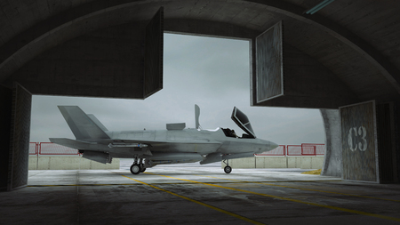 fighter plane: F 35 , american military fighter plane. Militay base angar Stock Photo
