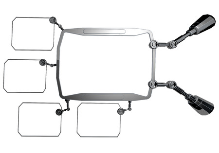 Futuristische sci-fi metalen element. Futuristisch monitor, display. toekomstig concept