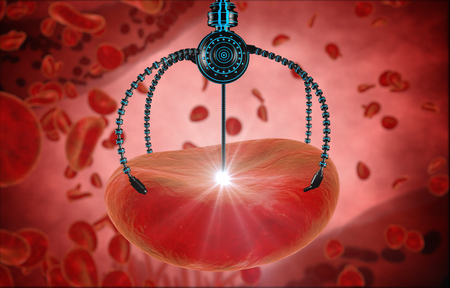 nanotech: Nano robot and blood cell injection. Medical concept anatomical future. Stock Photo