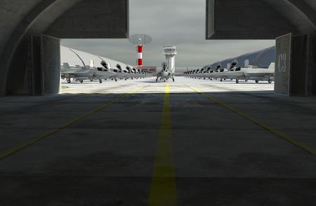 fighter plane: F 35 , american military fighter plane. Militay base, hangar, bunker.