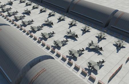 avion chasse: F 35, am�ricain avion de chasse militaire. base de militay, hangar, bunker.