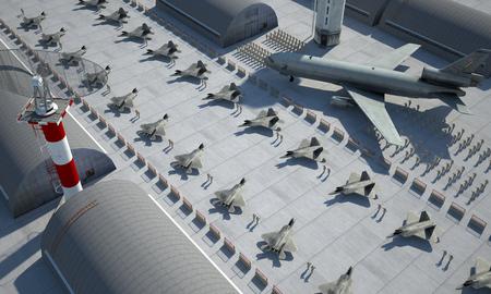avion chasse: F 22 raptor, am�ricain avion de chasse militaire. base de militay, hangar, bunker. Banque d'images
