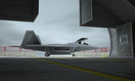 raptor: F 22 raptor , american military fighter plane. Militay base, hangar, bunker.