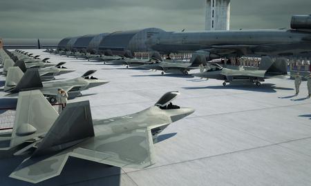 fighter plane: F 22 raptor , american military fighter plane. Militay base, hangar, bunker.