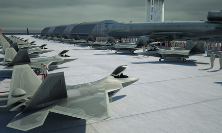 F 22 raptor , american military fighter plane. Militay base, hangar, bunker.
