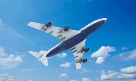 boeing: White plane flying in sky and clouds. Airplane boeing 747.