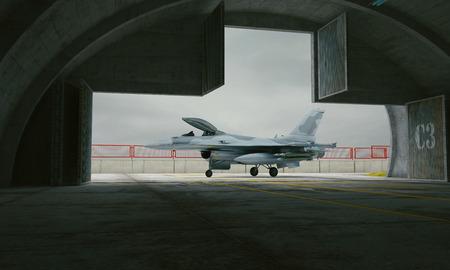 avion chasse: F 16, am�ricain avion de chasse militaire. base de militay, hangar, bunker.