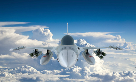 white fly: jet F-16 fly in the sky Stock Photo