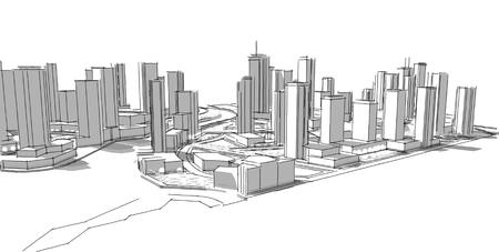 建築スケッチ。アイデア。図面。市