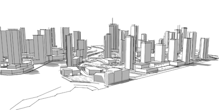business buildings: Architectural sketch. Idea. Drawing. City