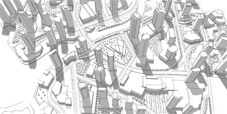 Architecturale schets. Idee. Tekening. stad