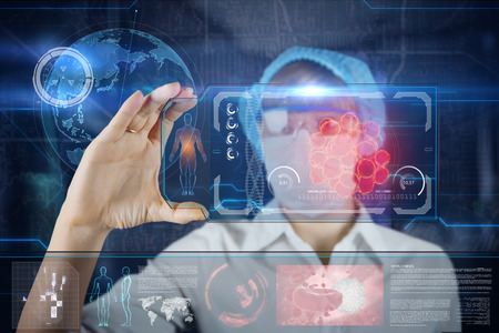 Female Doctor with futuristic hud screen tablet.  Bacteria, virus, microbe.