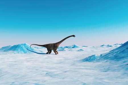 恐竜。先史時代の雪風景、恐竜と氷の谷.北極の表示。3 d のレンダリング