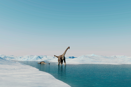 Dinosaur. Prehistoric snow landscape, ice valley with Dinosaurs. Arctic view. 3d render