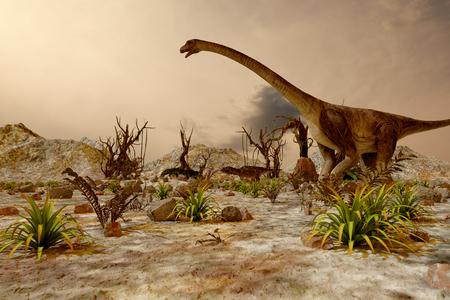 Dinosaur. Prehistoric Jungle, landscape, valley with Dinosaurs.