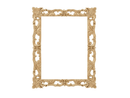 antique mirror: Golden vintage frame. Antique mirror. Design retro element.  physical realistic reflection