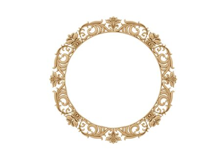 mirror frame: Golden vintage frame. Antique mirror. Design retro element.  physical realistic reflection