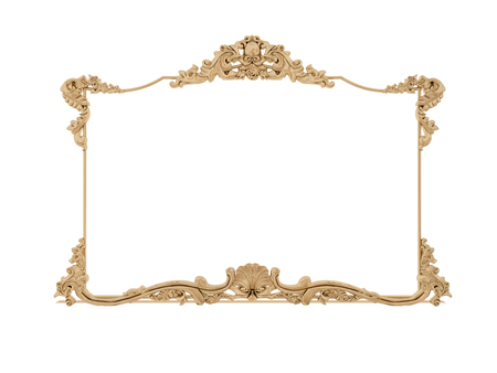 gold ornaments: Golden vintage frame. Antique mirror. Design retro element.  physical realistic reflection