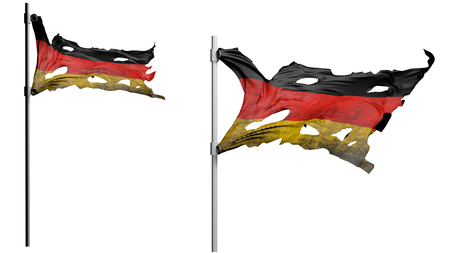apocalyptic: apocalyptic ragged dirty flag of Germany. isolate on white. 3d render.