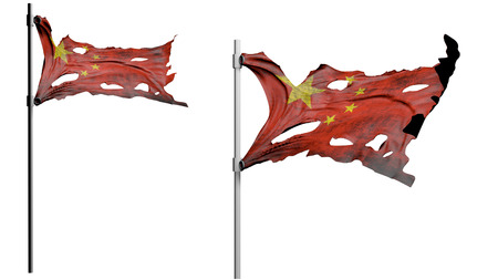 apocalyptic: apocalyptic ragged dirty flag of China. isolate on white. 3d render.