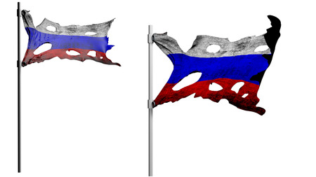 apocalyptic: apocalyptic ragged dirty flag of Russia. isolate on white. 3d render.
