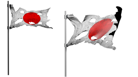 apocalyptic: apocalyptic ragged dirty flag of Japan. isolate on white. 3d render.