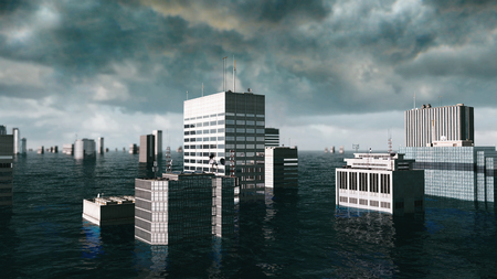 apocalyptic: Apocalyptic water view. urban flood. Storm. 3d render.