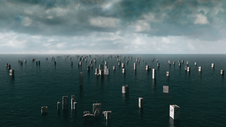 power giant: Apocalyptic water view. urban flood. Storm. 3d render.