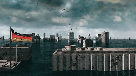 apocalyptic: Apocalyptic water view. urban flood Germany flag. Storm. 3d render.