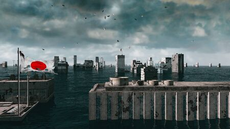 apocalyptic: Apocalyptic water view. urban flood, Japan flag. Storm. 3d render Stock Photo