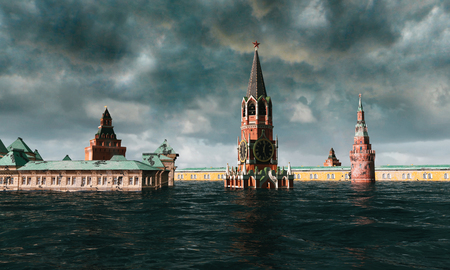 power giant: Apocalyptic water view. urban flood, Russian red square. Storm. 3d render Stock Photo
