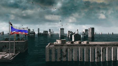 power giant: Apocalyptic water view. urban flood, Russian flag. Storm. 3d render