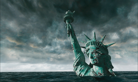 Apocalyptic water view. Old Statue of liberty in Storm. 3d render
