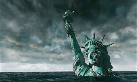 Apocalyptische uitzicht op het water. Oud Standbeeld van vrijheid in Storm. 3d render