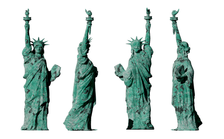 apocalyptic: apocalyptic old statue of liberty. 4 views. isolate on white background. 3d render.