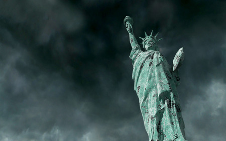 apocalyptic: Apocalyptic view. Old Statue of liberty in Storm. 3d render. Stock Photo