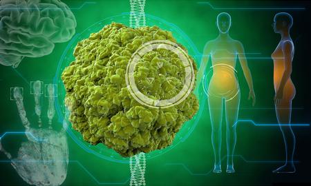 virus bacteria: Virus, bacteria, microbe. medical anatomy concept with hud elements