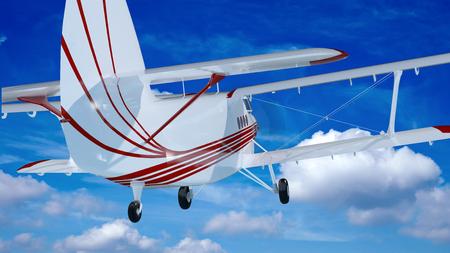 bi: old retro bi plane fly in the clouds
