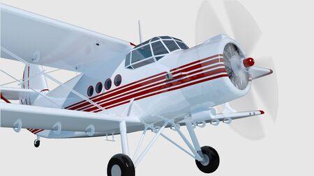 bi: old retro bi plane isolate on white. 3d rendering.