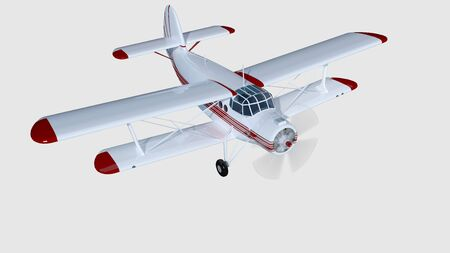 old retro bi plane isolate on white. 3d rendering.