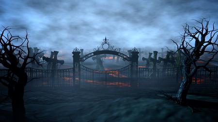 공포의 밤 묘지, 무덤. 달빛. 할로윈 개념 3d 렌더링
