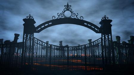 Cimetière de nuit d'horreur, tombe. Clair de lune . concept de halloween rendu de 3d Banque d'images